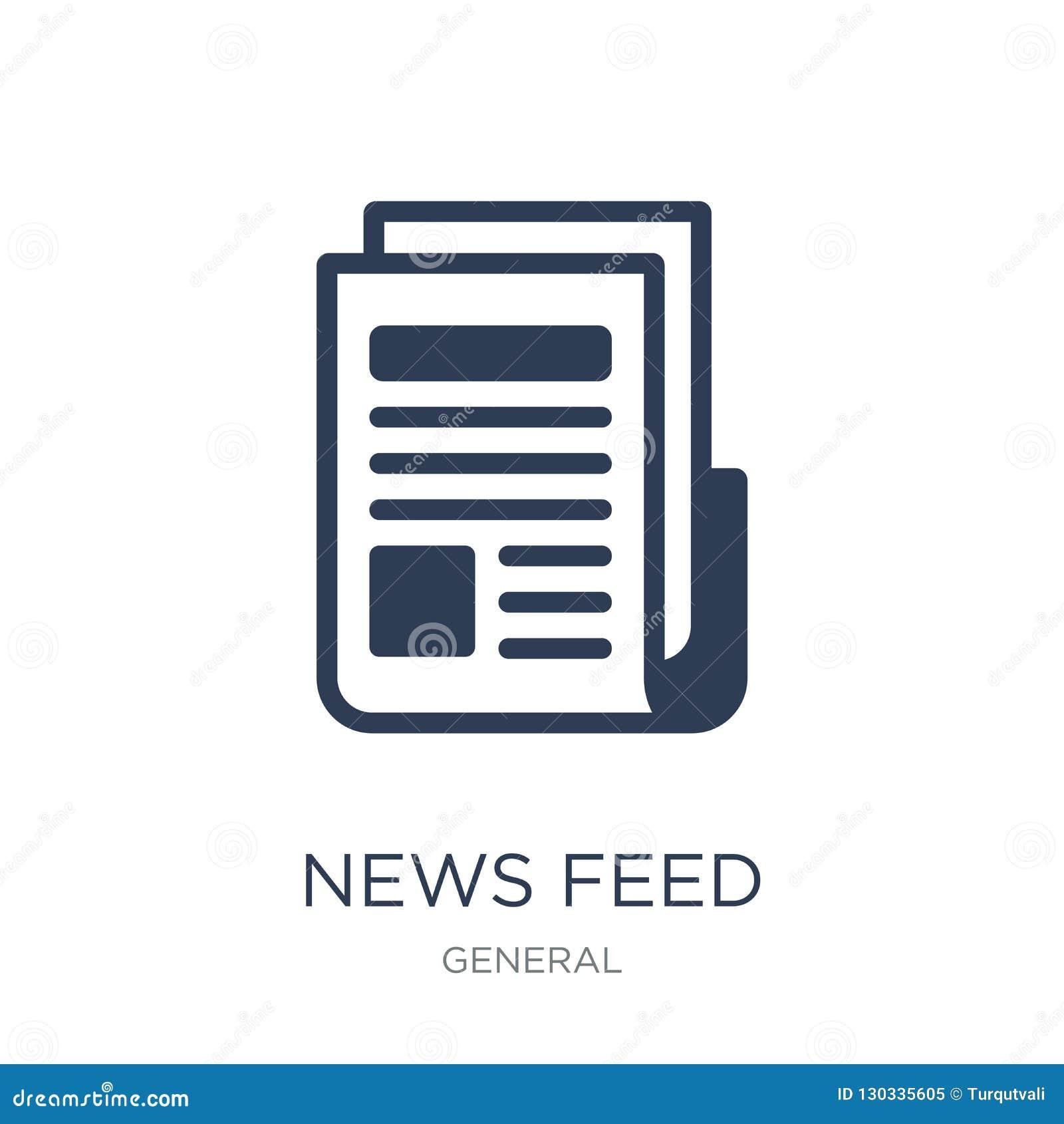 Wiadomości karmy ikona Modna płaska wektorowa wiadomości karmy ikona na białym backg