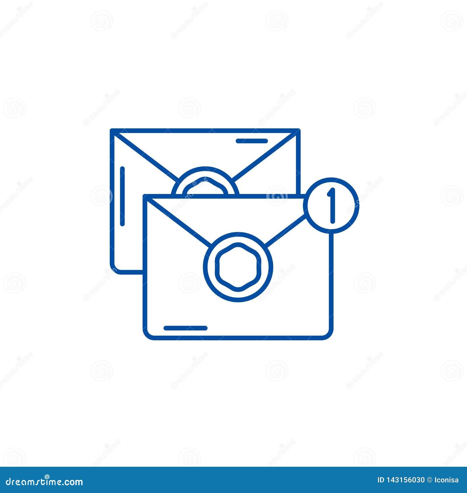 Wiadomości linii ikony pojęcie Wiadomość płaski wektorowy symbol, znak, kontur ilustracja