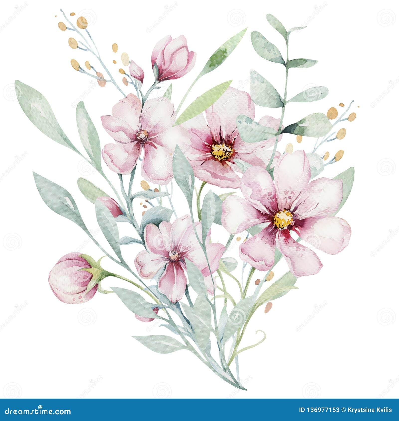 Wianek okwitnięcie menchii czereśniowi kwiaty w akwarela stylu z białym tłem Set lato kwitnący japończyk Sakura