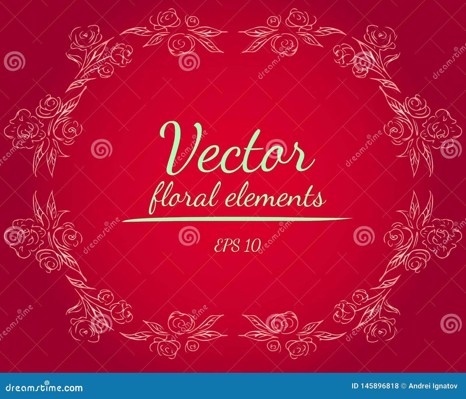 Wianek r??e lub peonie kwitnie i rozga??zia si? z czerwieni?, karmin, zmierzch, fringy kwiatu gradientu kolory Kwiecisty ramowy p