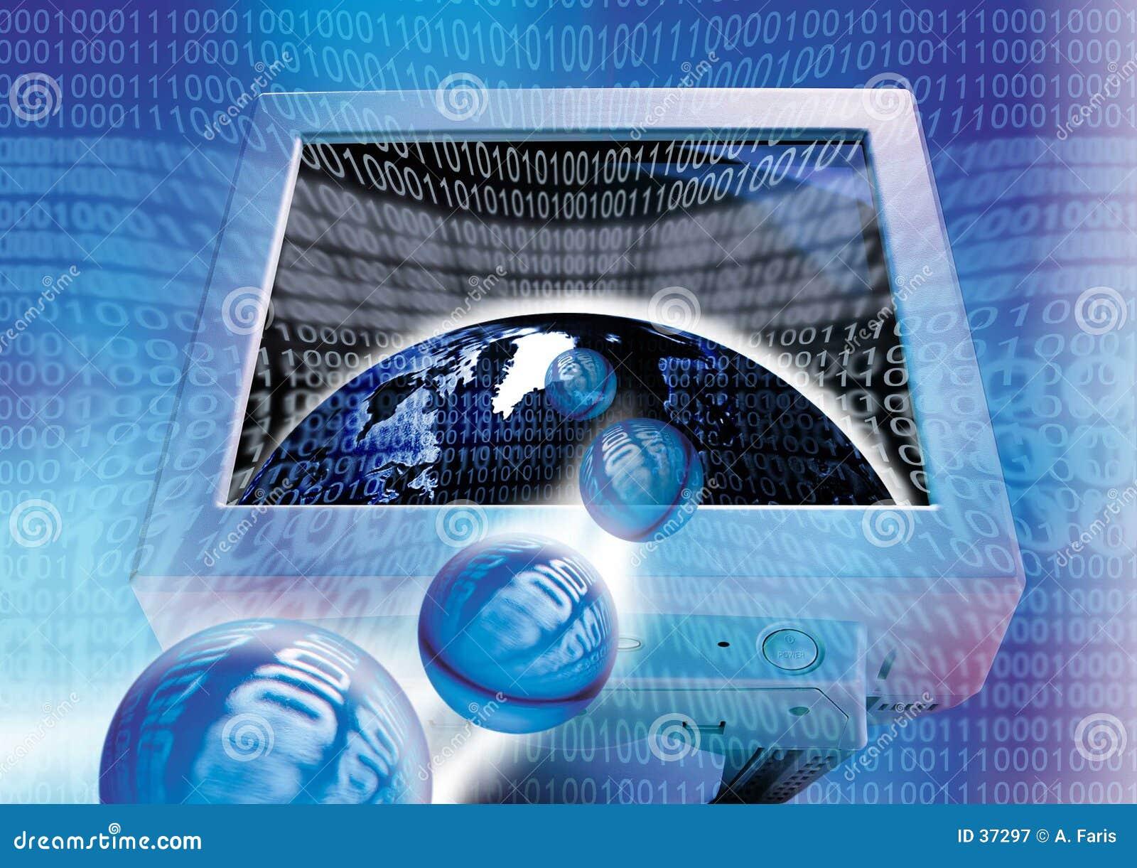 Download świat binarny ilustracji. Ilustracja złożonej z komputer - 37297