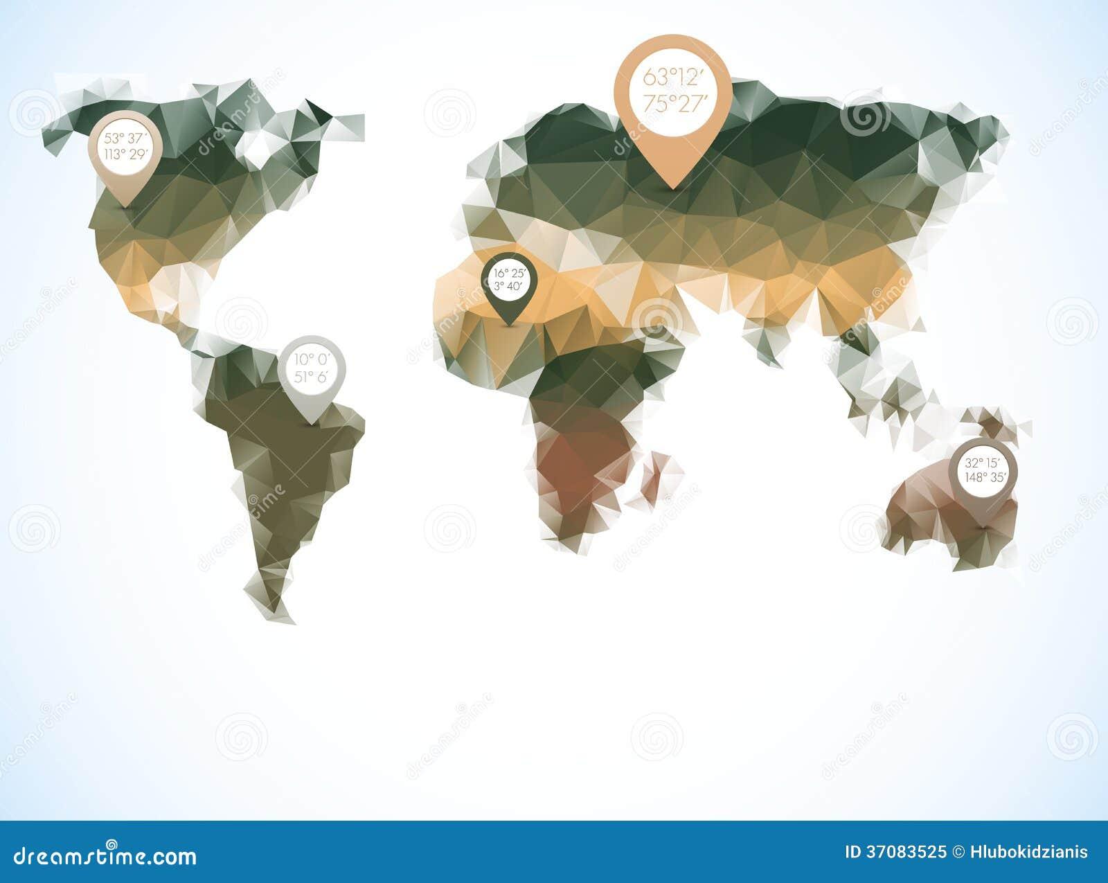 Download Światowa Mapa W Poligonalnym Stylu Ilustracja Wektor - Ilustracja złożonej z ilustracje, nowożytny: 37083525