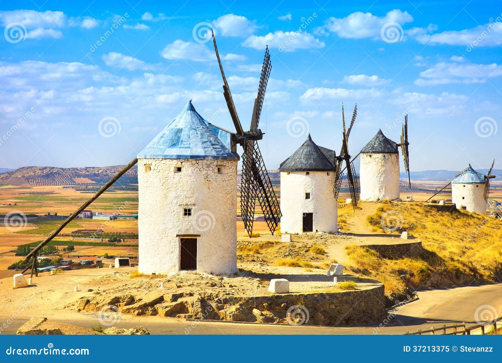 Wiatraczki Don donkiszot w Consuegra. Castile los angeles Mancha, Hiszpania