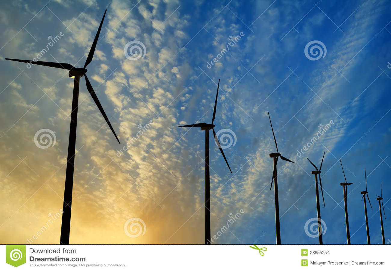 Wiatrowego generatoru turbina na zmierzchu