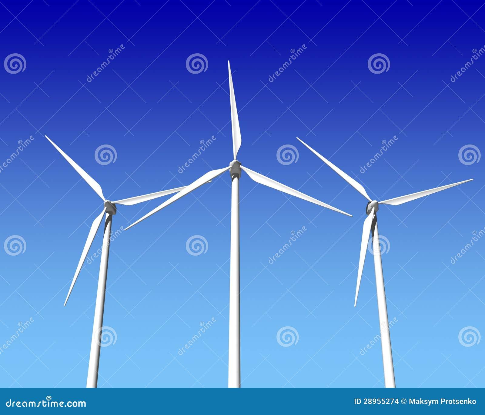Wiatrowego generatoru turbina nad niebieskim niebem