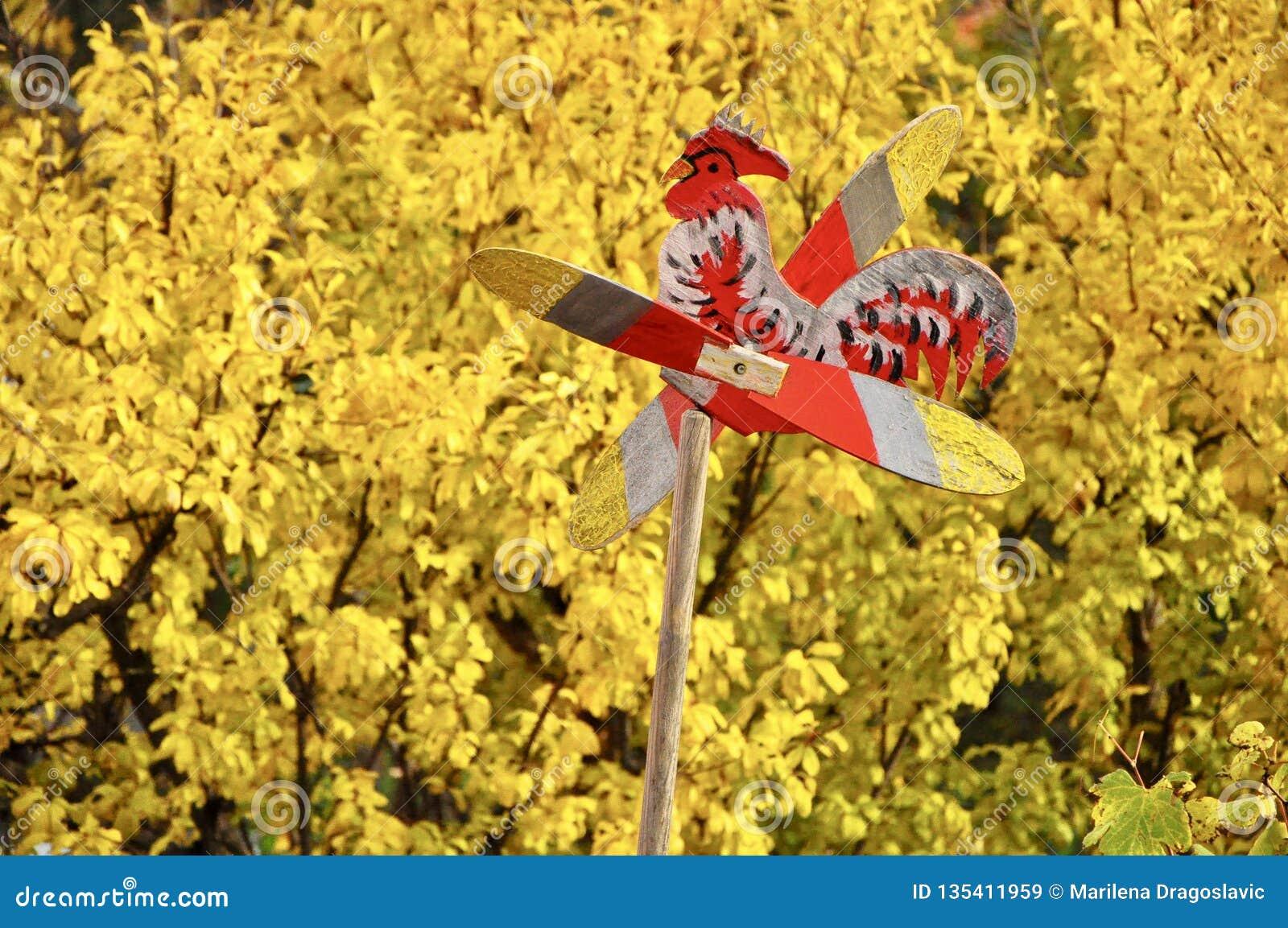 Wiatrowego kierunku wskaźnika wiatrowskaz z żółtą rośliną w tle
