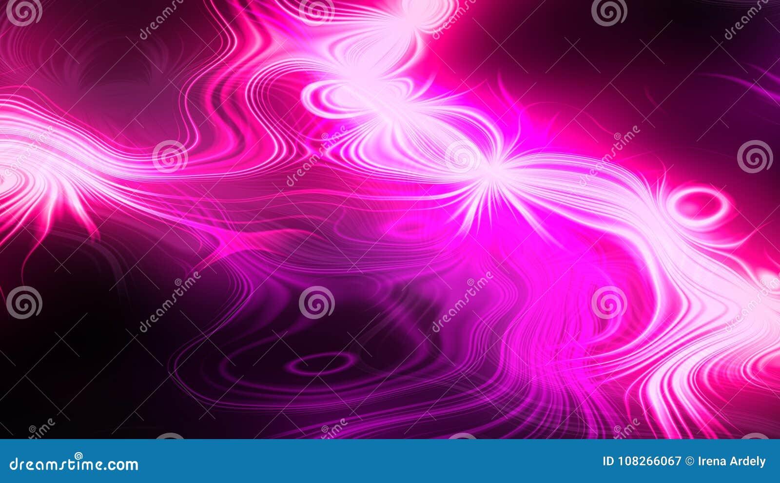Wibrujący neonowy różowy magenta czarny barwiony deseniowy tło z oświetleniowymi promieniami