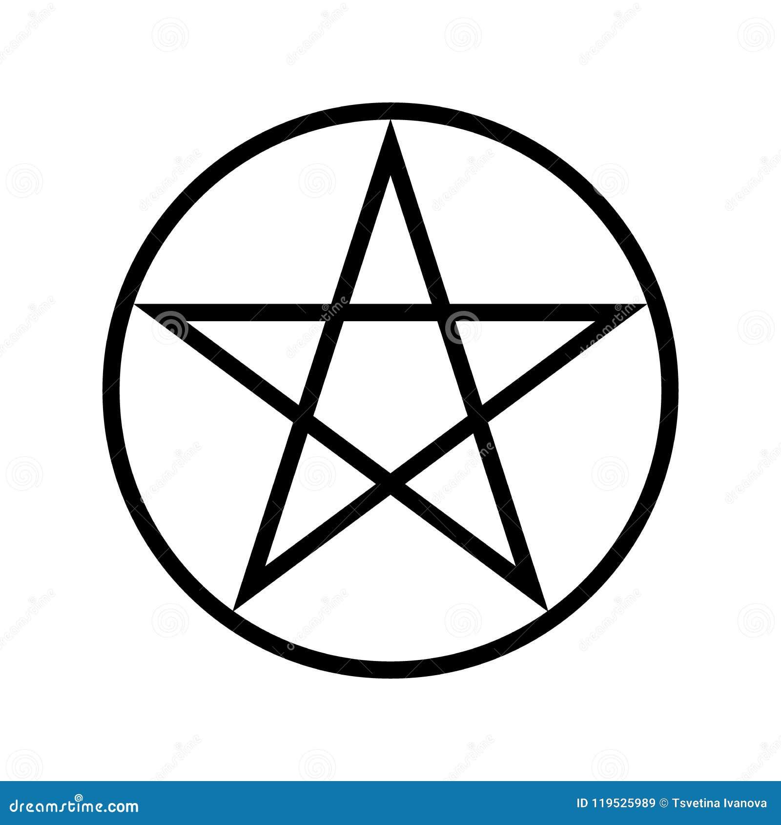 Wicca Pentagram Religious Symbol Simple Icon Stock Vector
