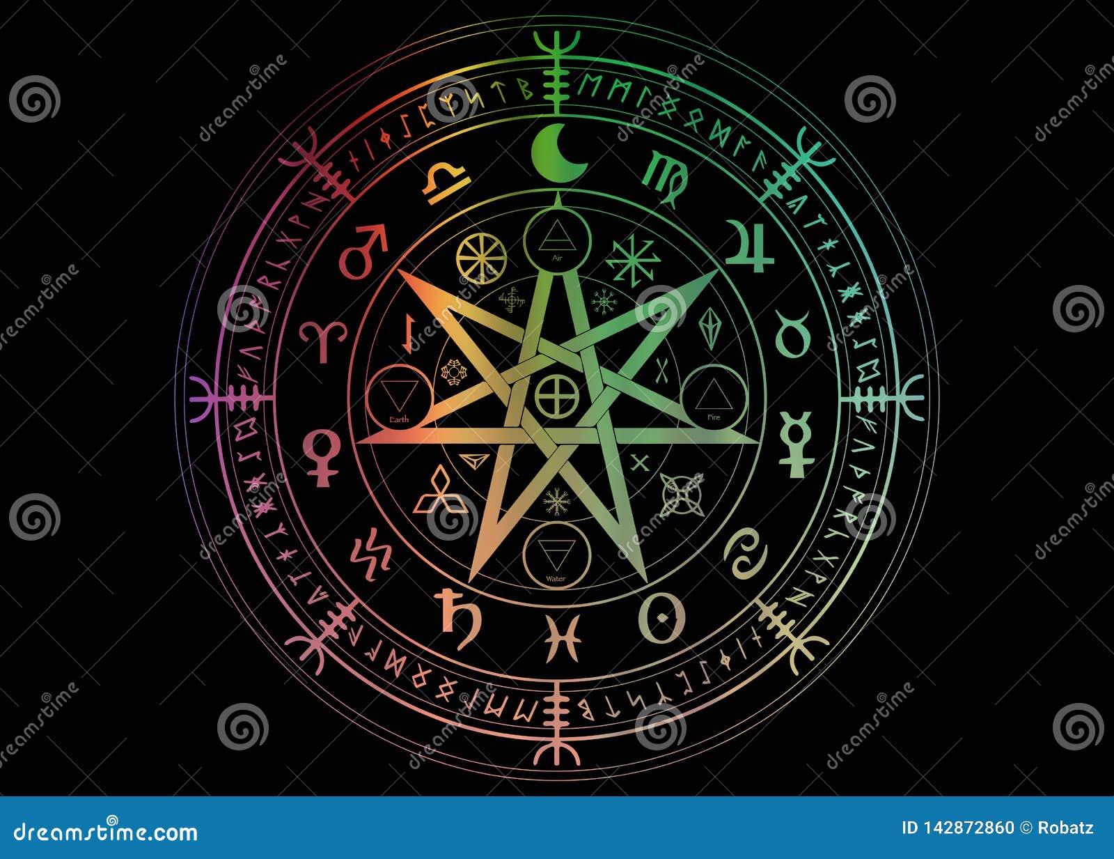 Wiccan-Symbol des Schutzes Stellen Sie von Mandala Witches-Runen, mystische Wicca-Weissagung ein Bunte alte geheimnisvolle Symbol