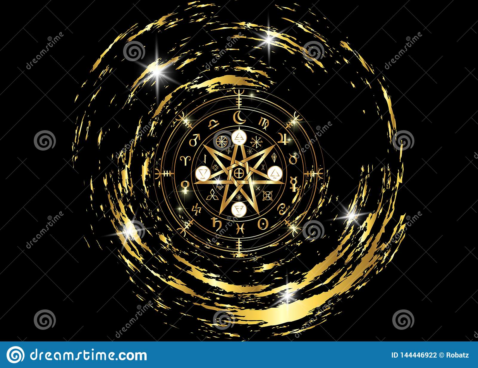 Wiccan symbol of protection. Gold Mandala Witches runes, Mystic Wicca divination. Ancient occult symbols, Earth Zodiac Wheel
