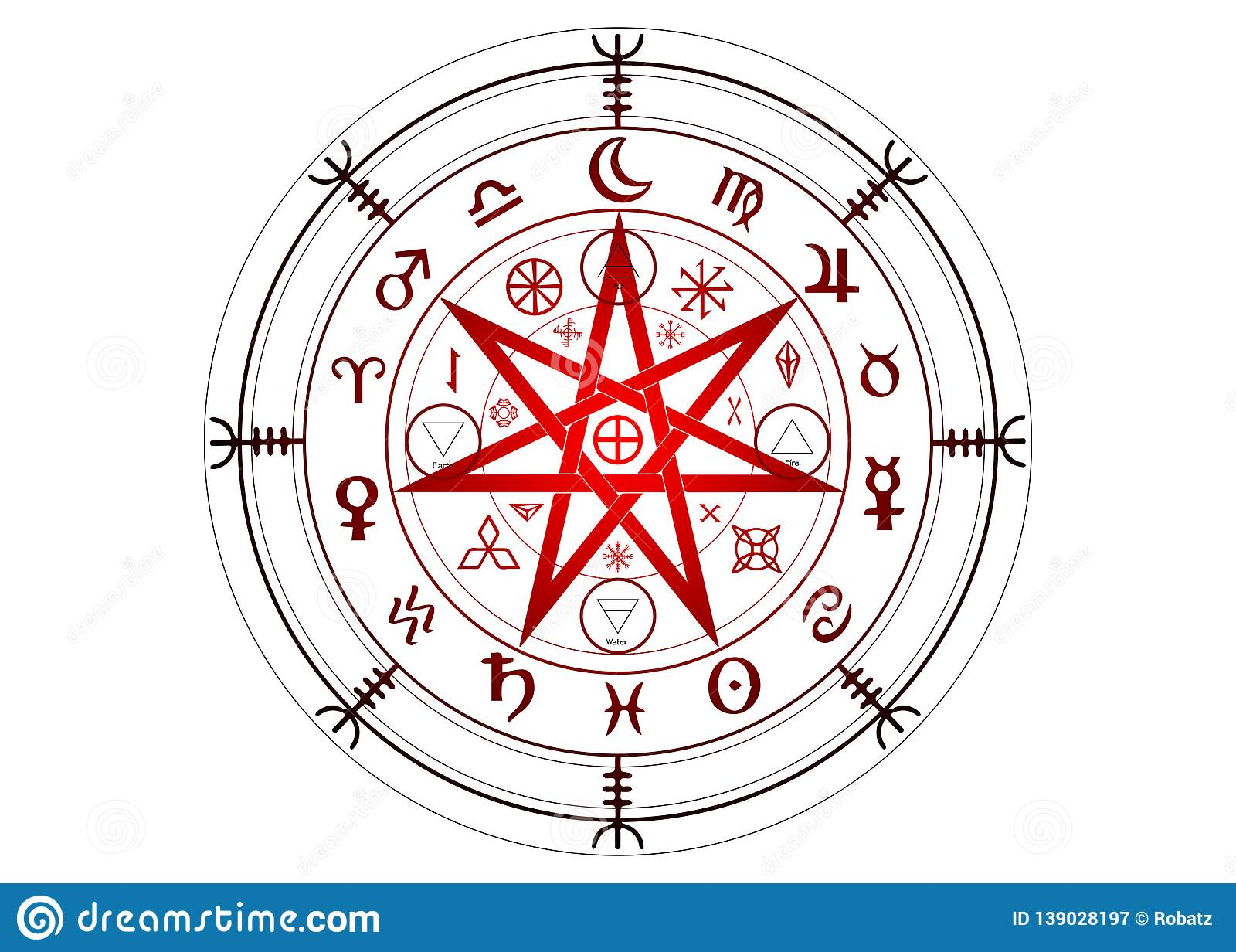 Wiccan Symbol Of Protection  Set Of Mandala Witches Runes