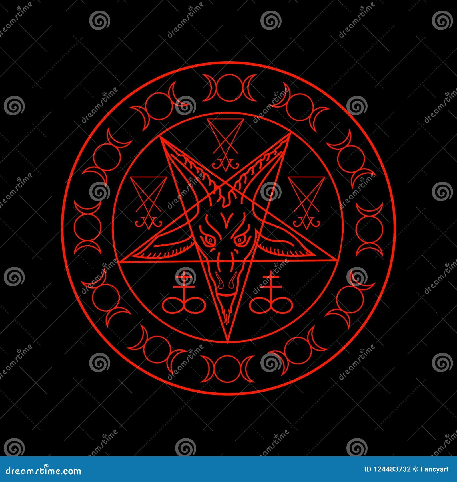 Cross Of Sulfur Triple Goddess Sigil Of Baphomet And Lucifer Stock