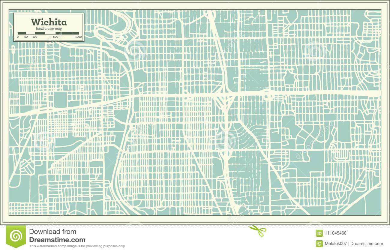 Wichita Kansas USA City Map In Retro Style. Outline Map. Stock ...