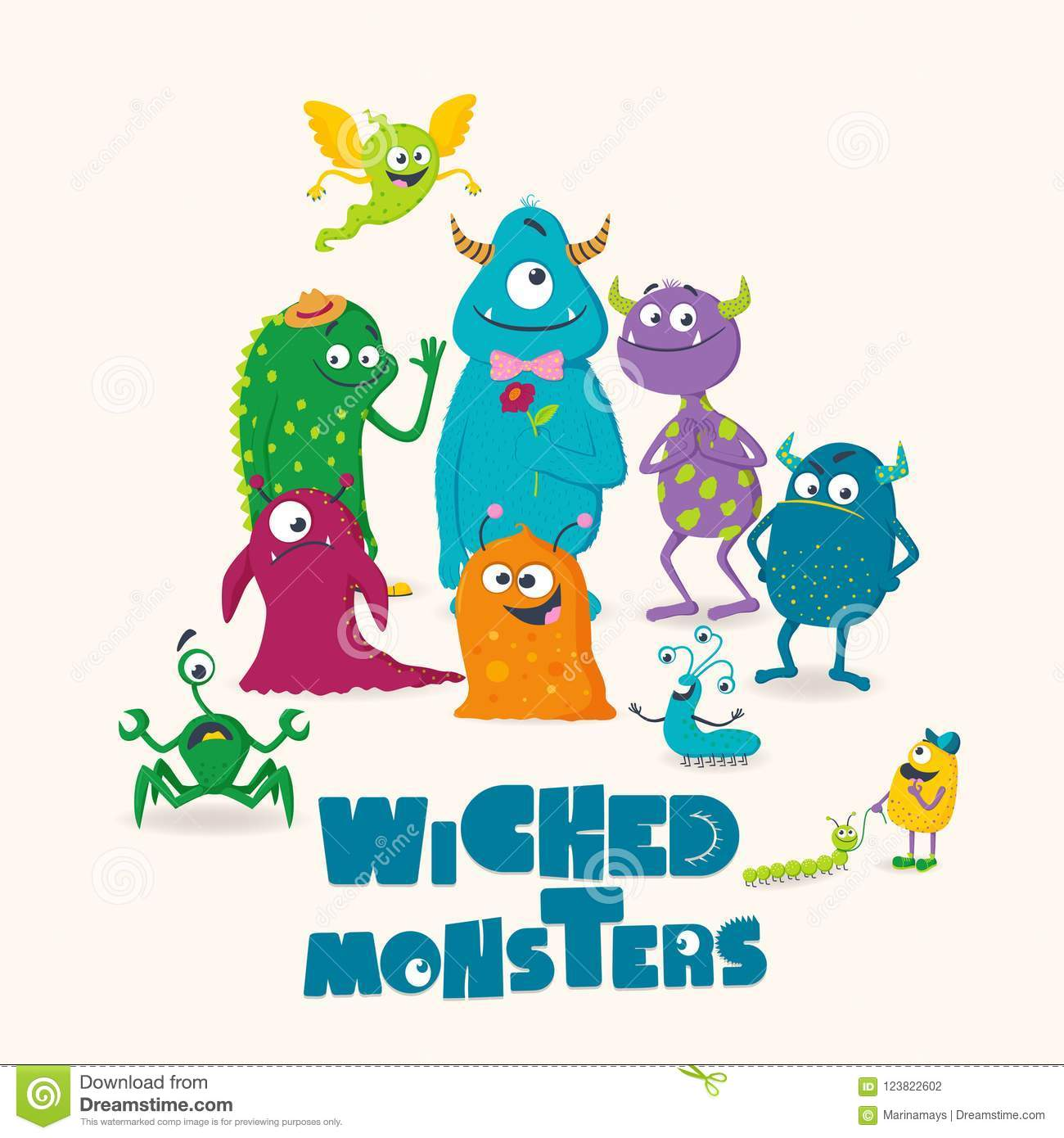 Wicked Monsters Greeting Card For Kids Stock Vector Illustration