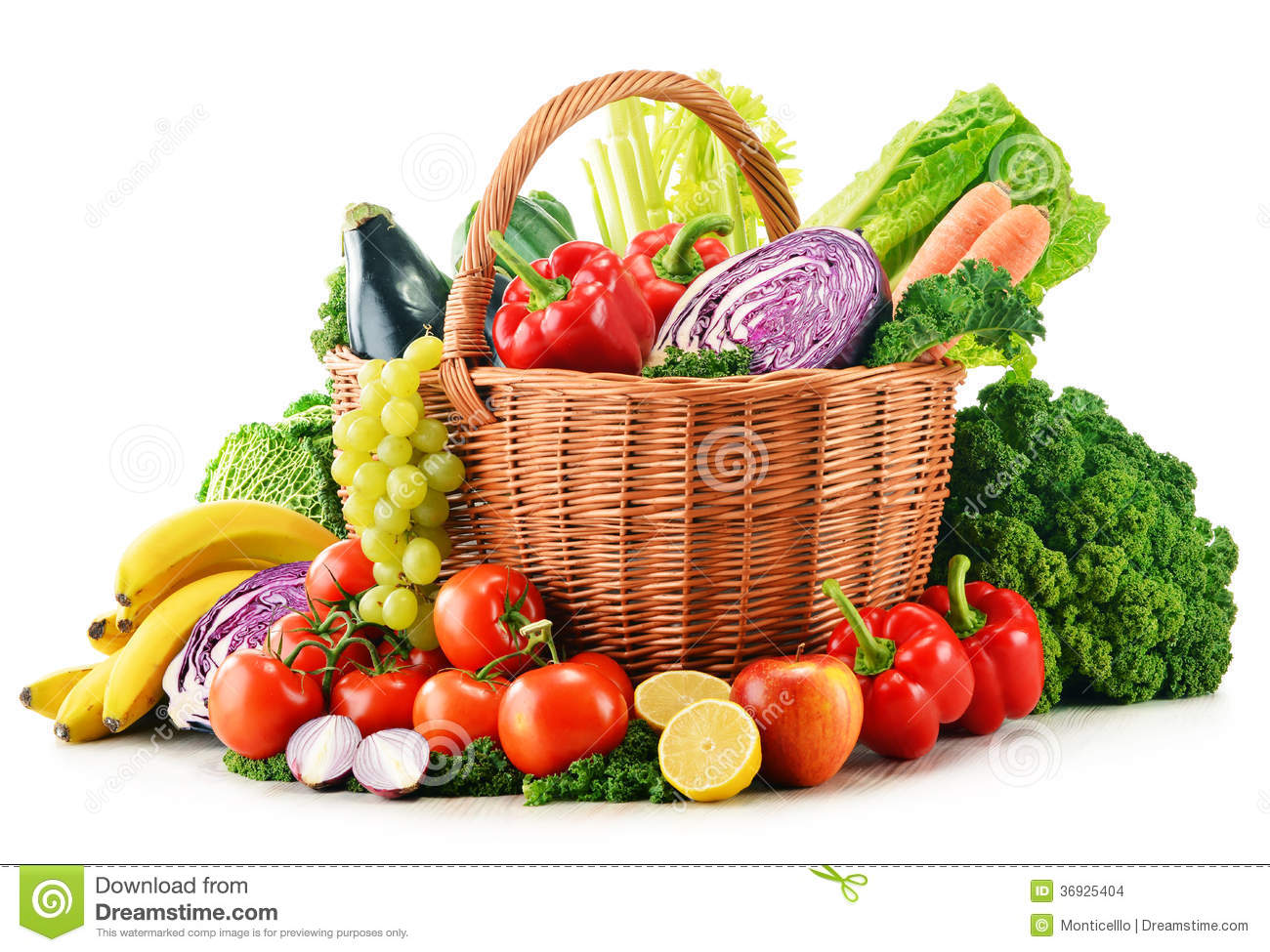 Wicker Basket With Assorted Organic Vegetables And Fruits ...