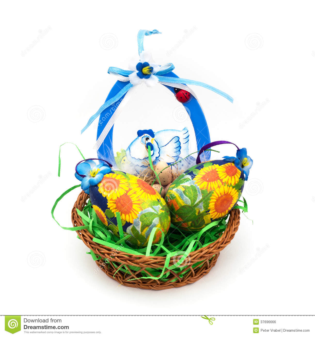 Wicker Basket With Easter Painted Eggs Royalty Free Stock