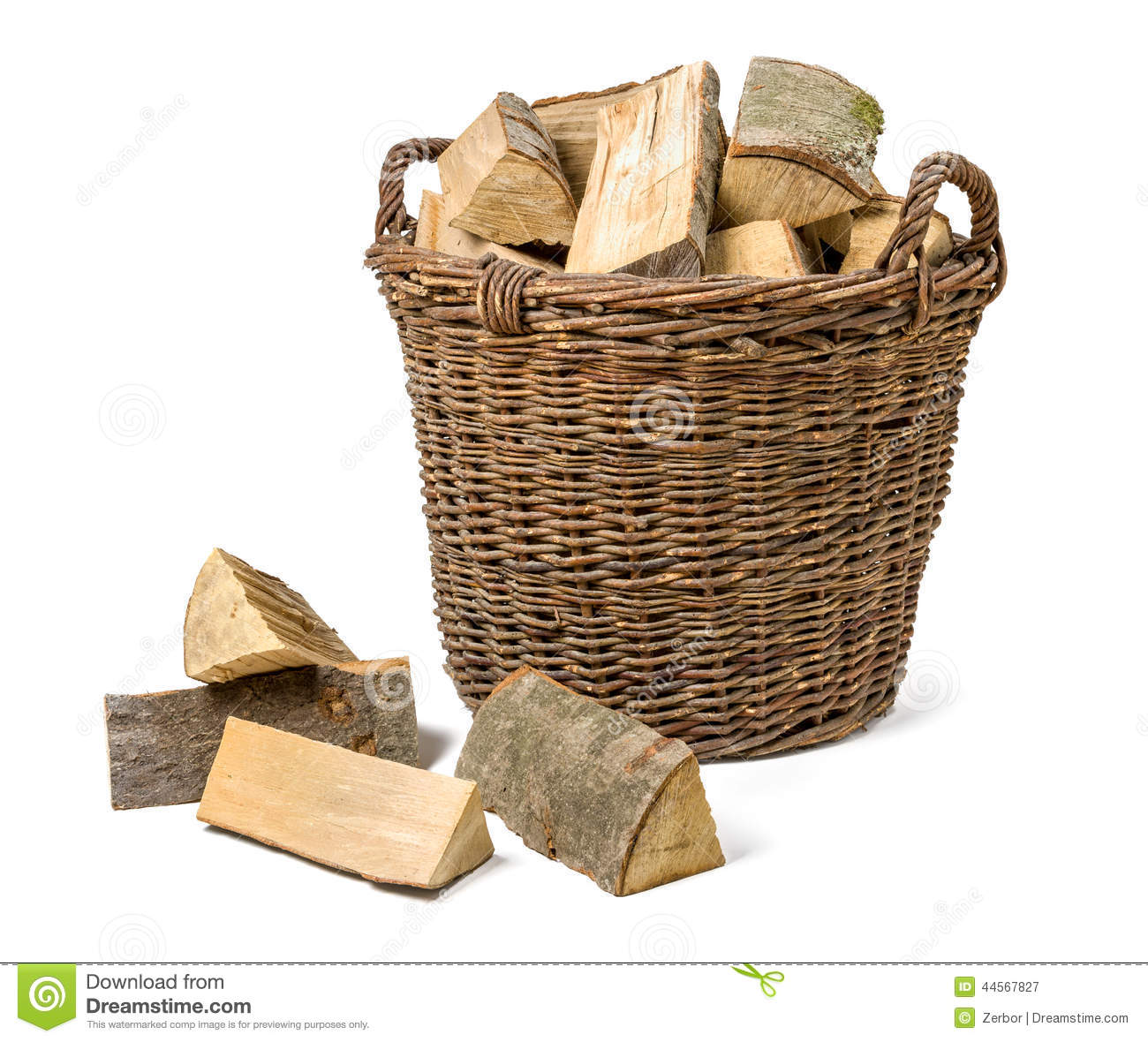 wicker basket filled with firewood stock photo image. Black Bedroom Furniture Sets. Home Design Ideas