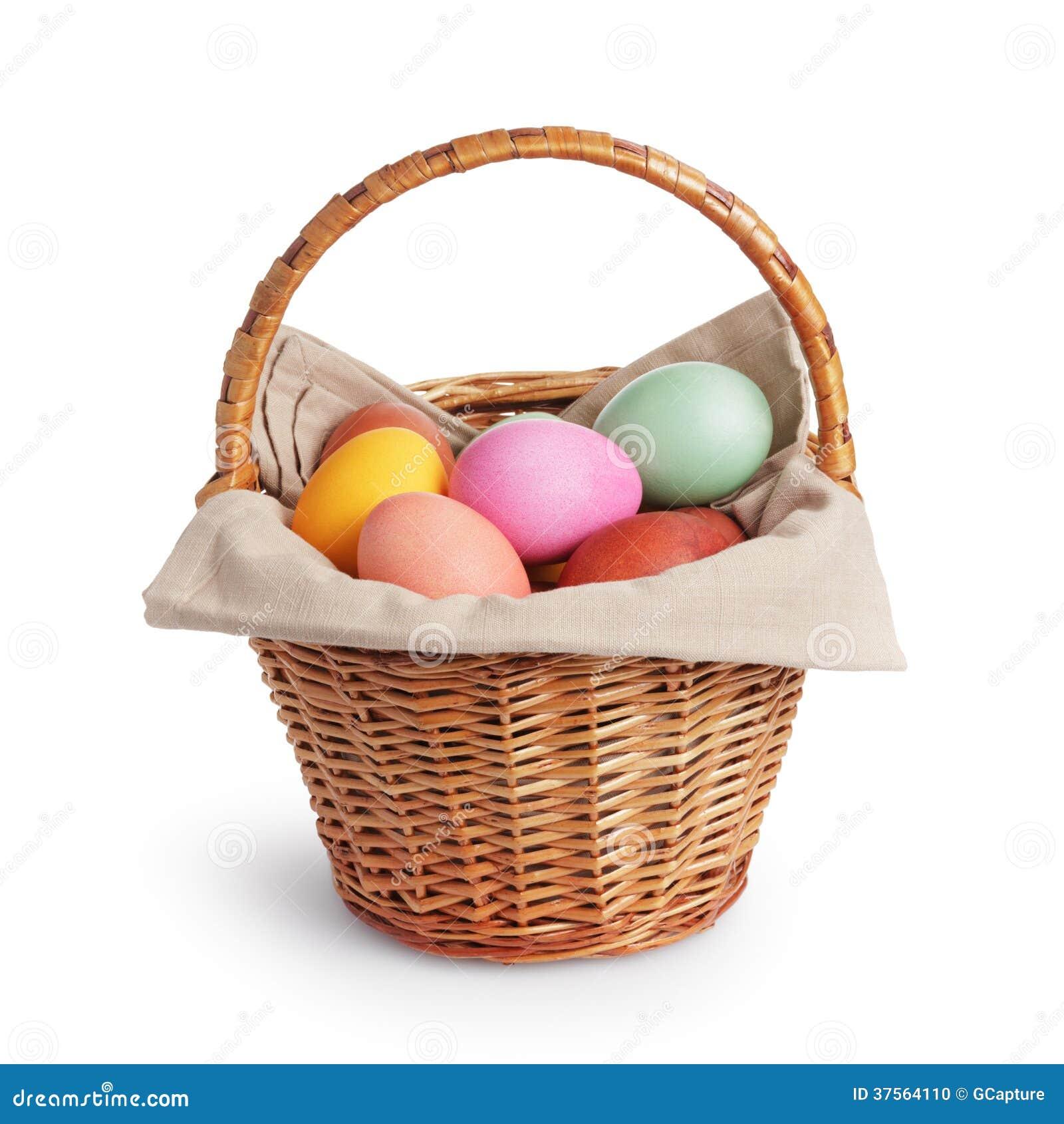 wicker basket full of pastel colors easter eggs stock. Black Bedroom Furniture Sets. Home Design Ideas