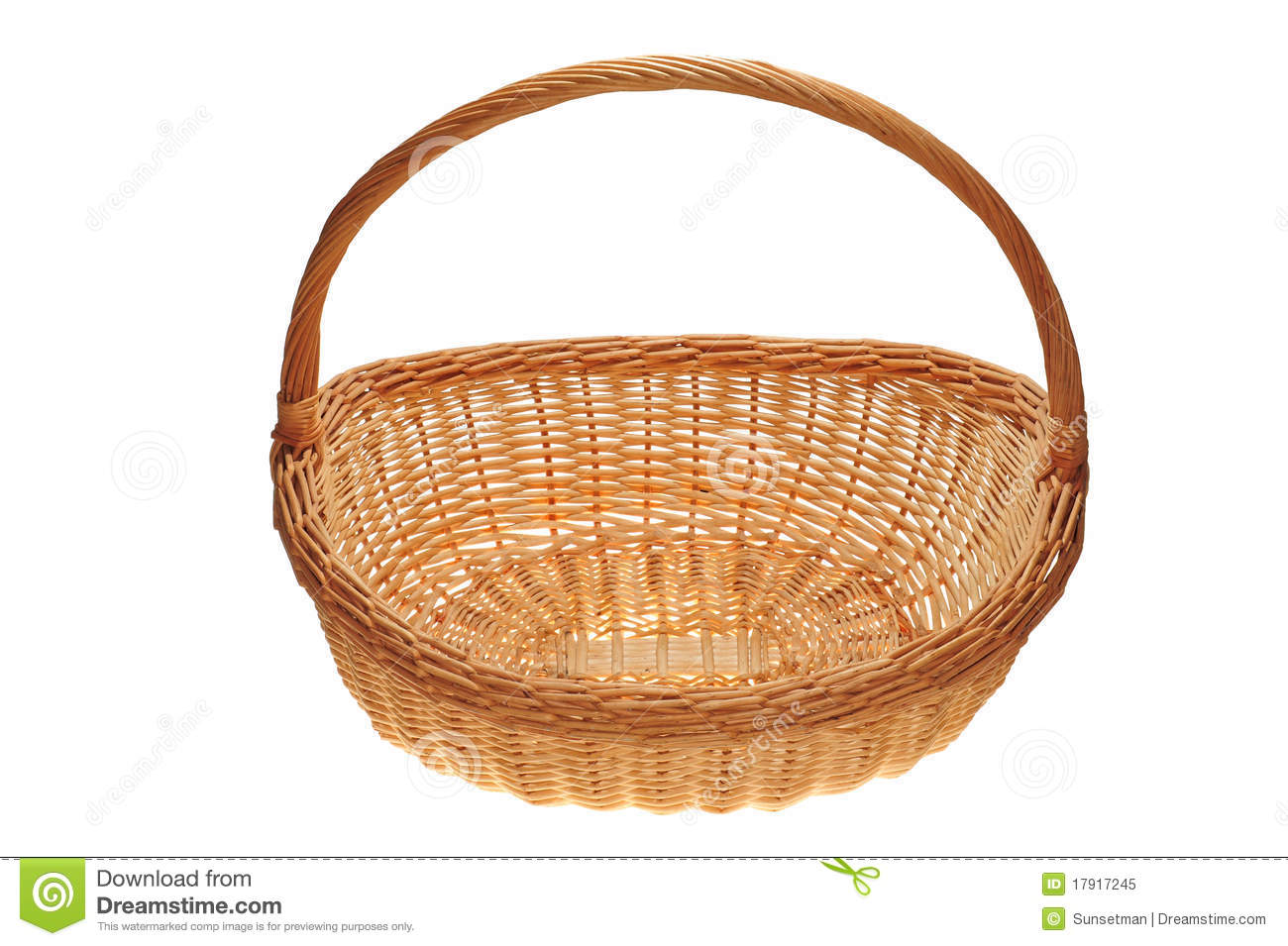 White wicker baskets with handle - Wicker Basket With Handle