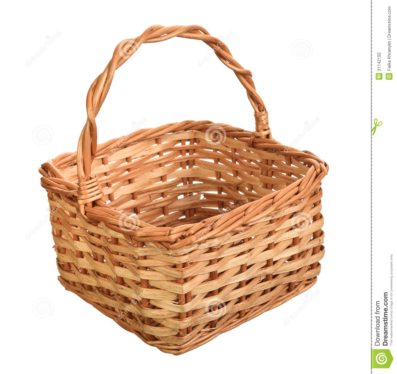 A wicker basket with handle.