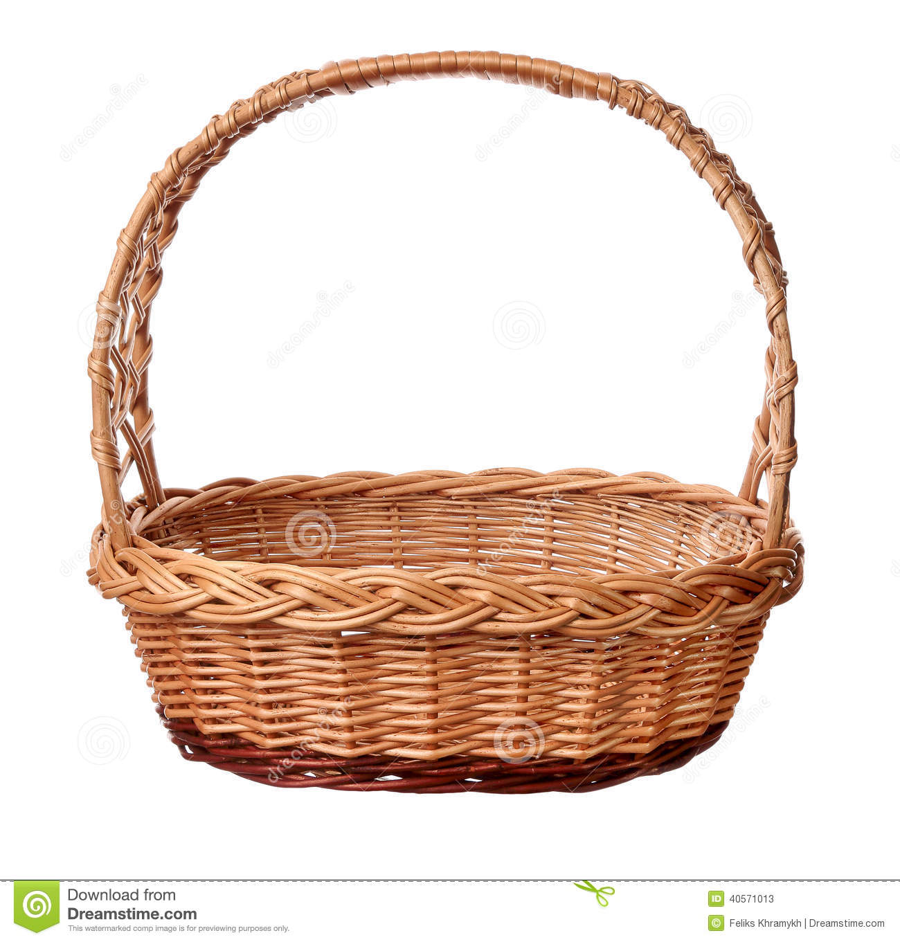 White wicker baskets with handle - A Wicker Basket With Handle