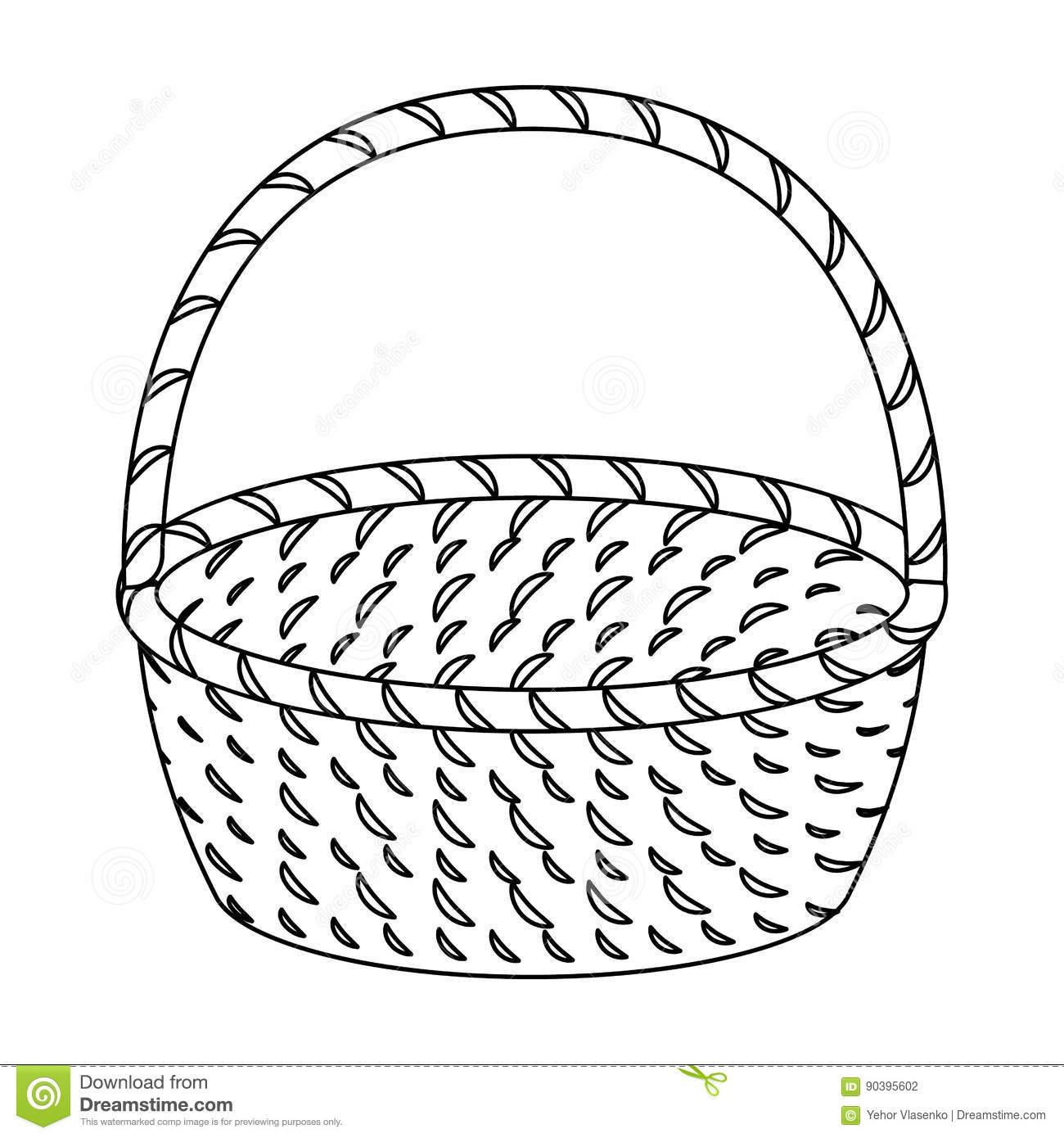 Wicker Basket Made Twigs Easter Single Icon Outline