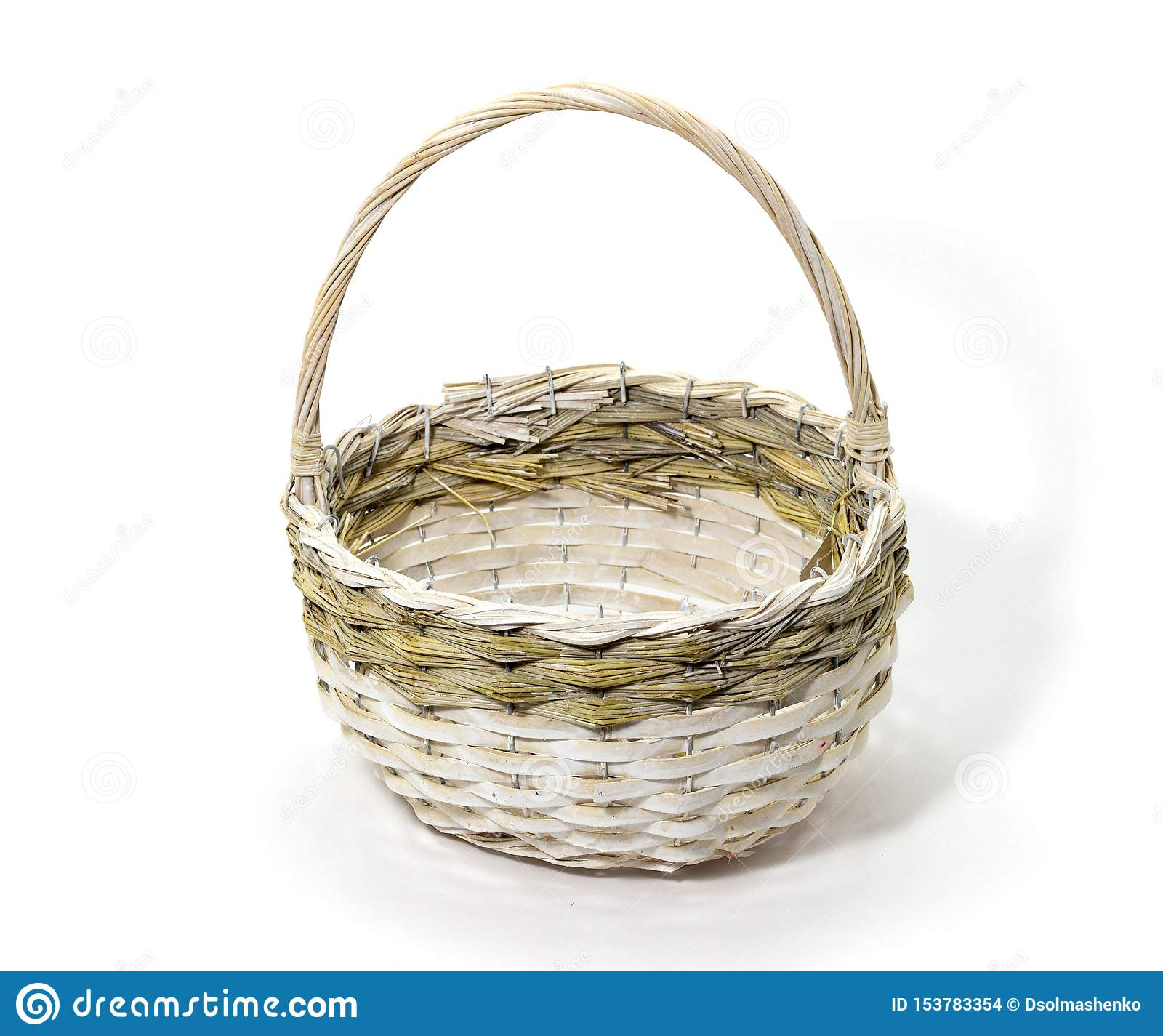 Wicker basket of natural materials on a white background folk crafts