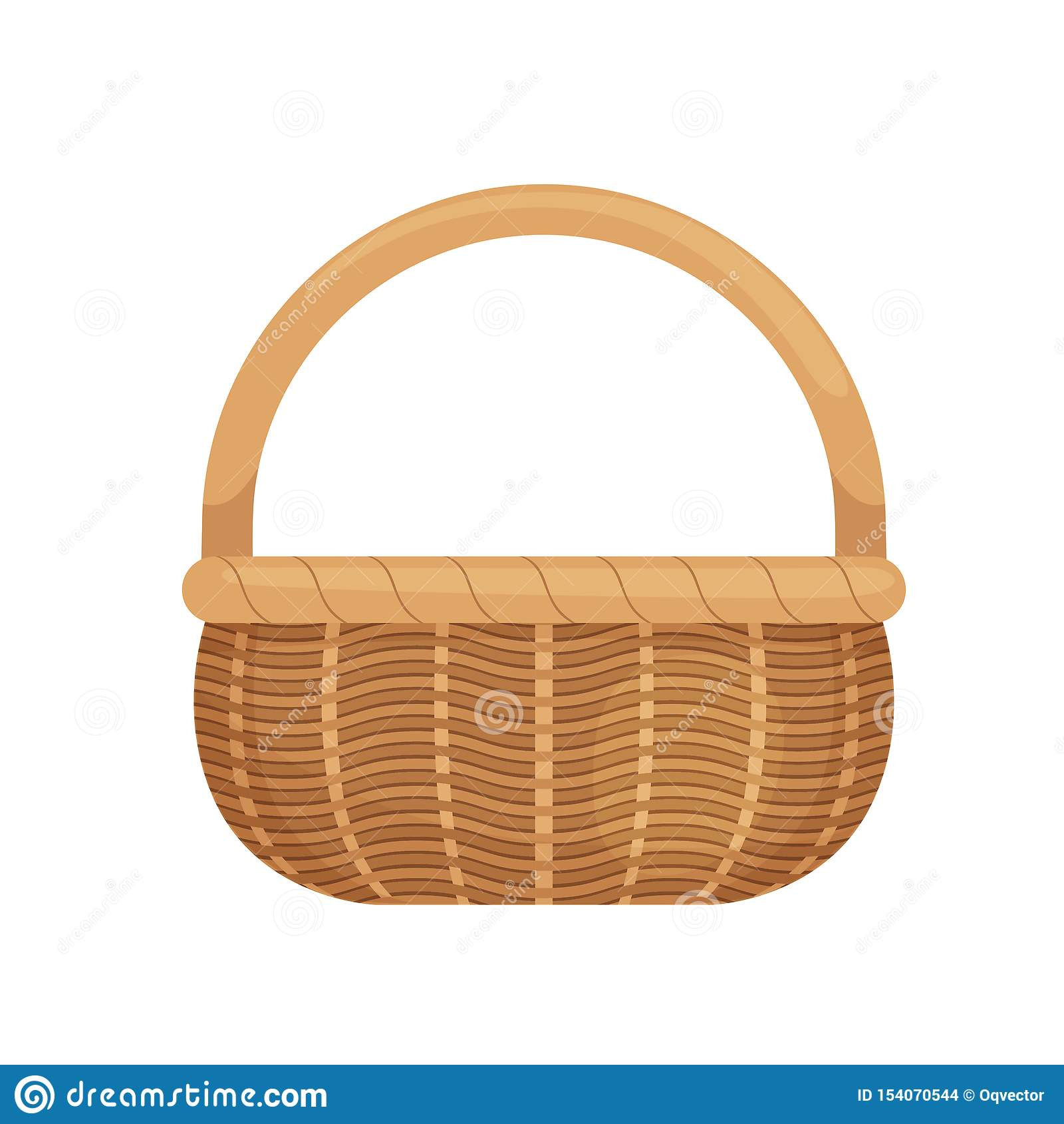 Wicker Basket With Picnic Handle Cartoon Style Eco Friendly Isolated On White Background Stock Vector Illustration Of Patchwork Interior 154070544