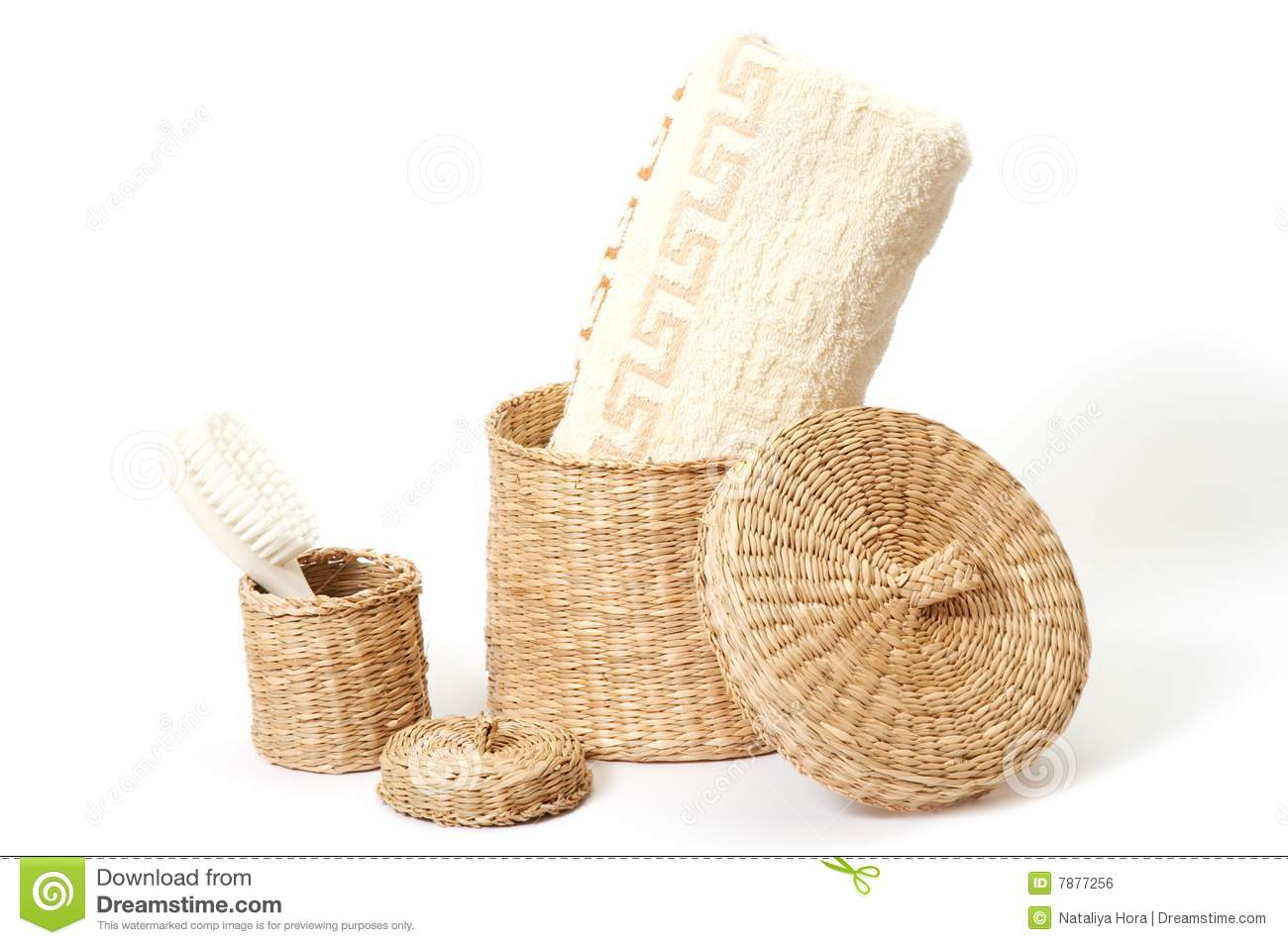 Wicker Baskets With Bath Accessories Royalty Free Stock Image Image 7877256