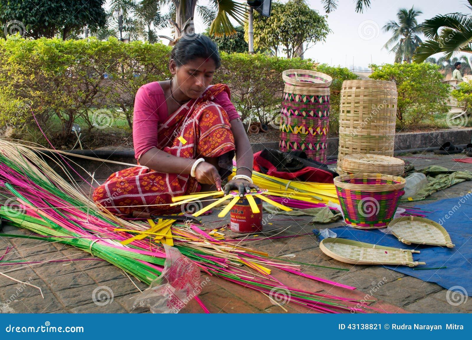Wicker Baskets Indian Handicrafts Fair At Kolkata Editorial Photo