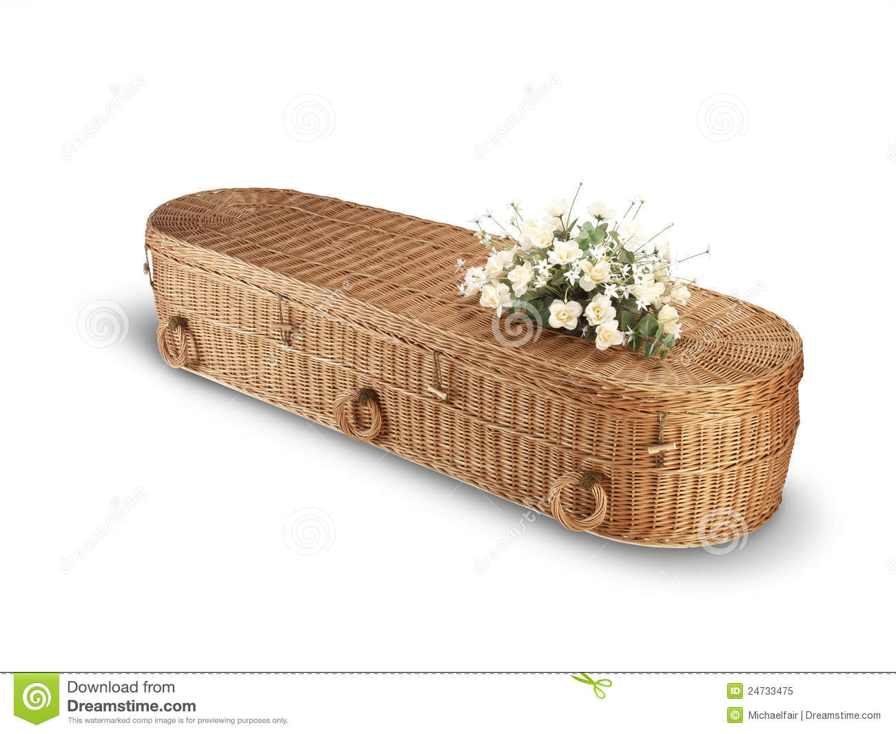 Wicker bio-degradable eco coffin isolated path