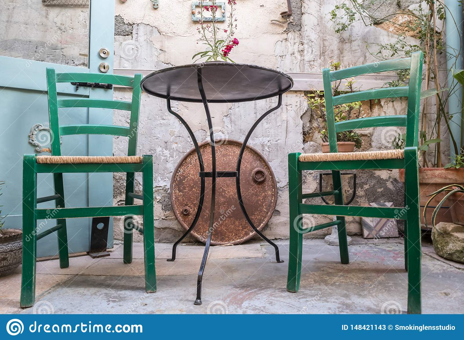 Wicker Chairs with metal table