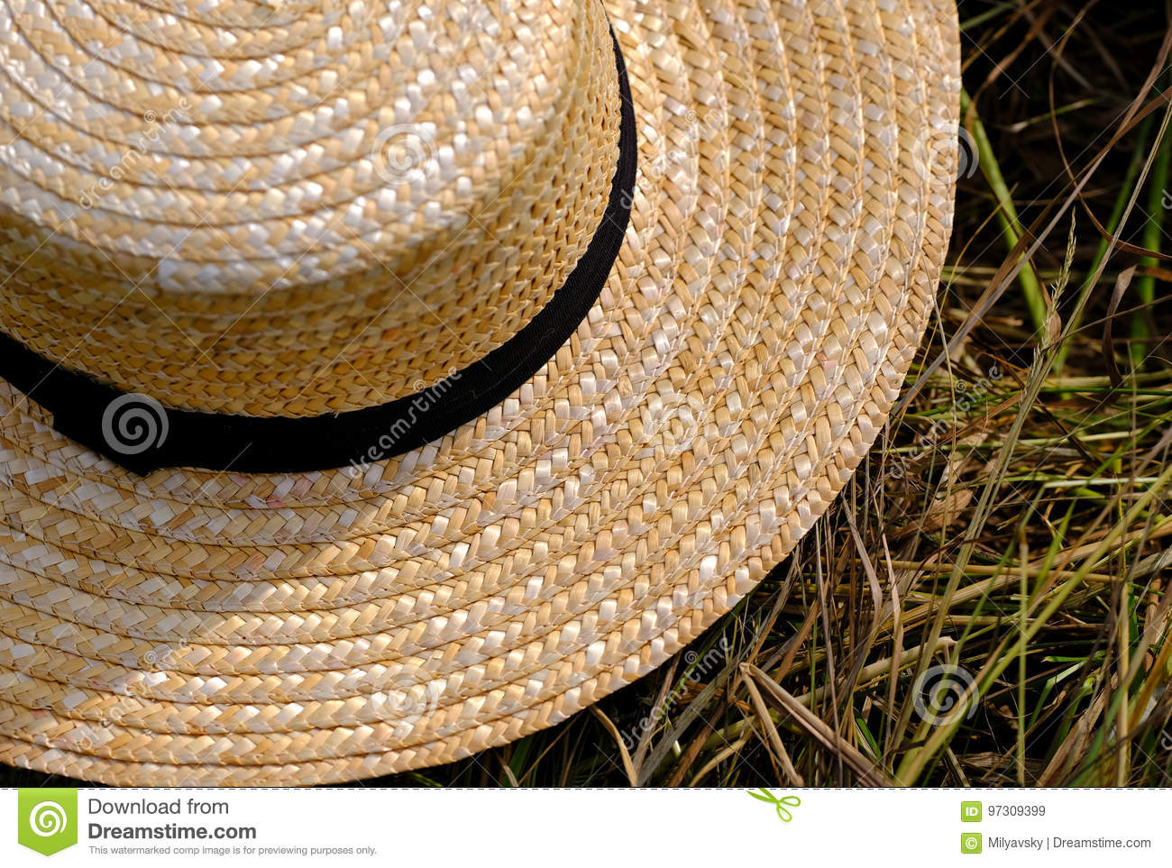Good quality close up photo of a classic broad-brimmed hat view from above   you may see classic farmer hat with dark almost black wide fabric strip  around ... 5f4afd41ebfb