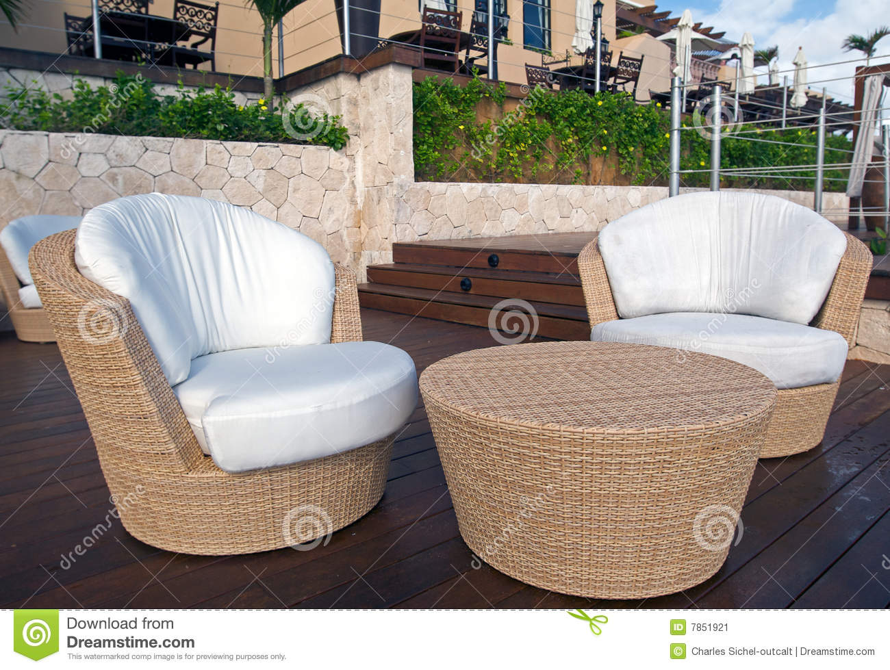 Wicker furniture at luxury resort stock image image of - Muebles de rattan ...
