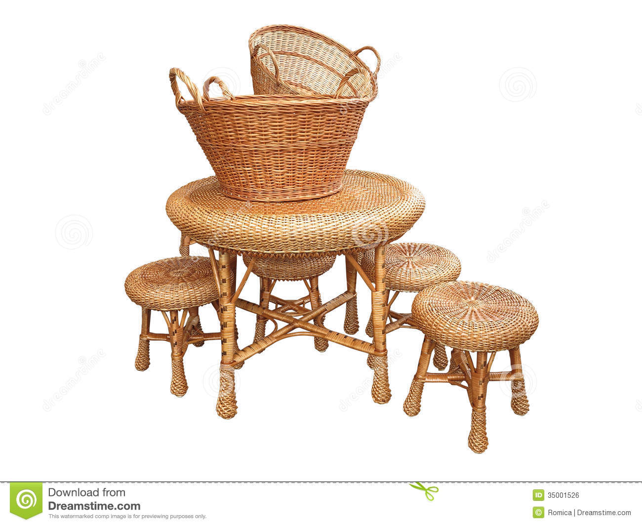 Furniture - Table, Chair And Baskets Isolated Over White Royalty Free ...