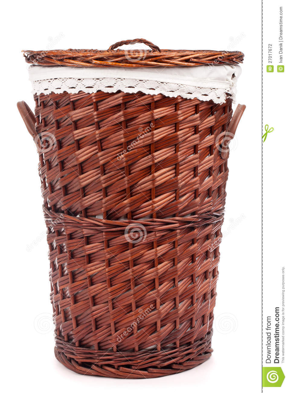 Wicker hamper stock photography image 27017672 - Hamper for dirty clothes ...