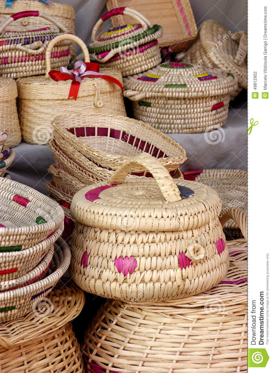 Handicraft Basketry : Wicker handicrafts stock photo image
