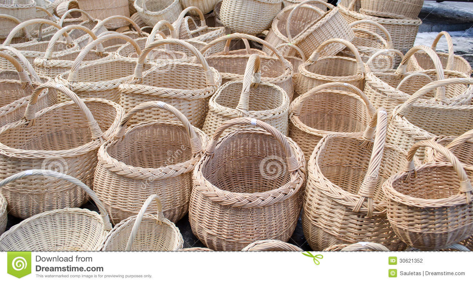Handmade Baskets Diy : Wicker handmade wooden diy basket street market stock
