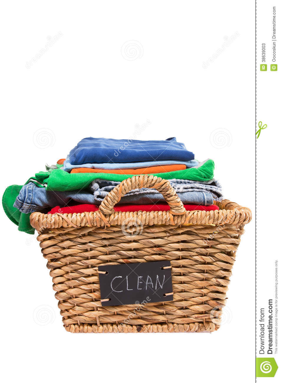 Wicker Laundry Basket Filled With Clean Clothes Stock