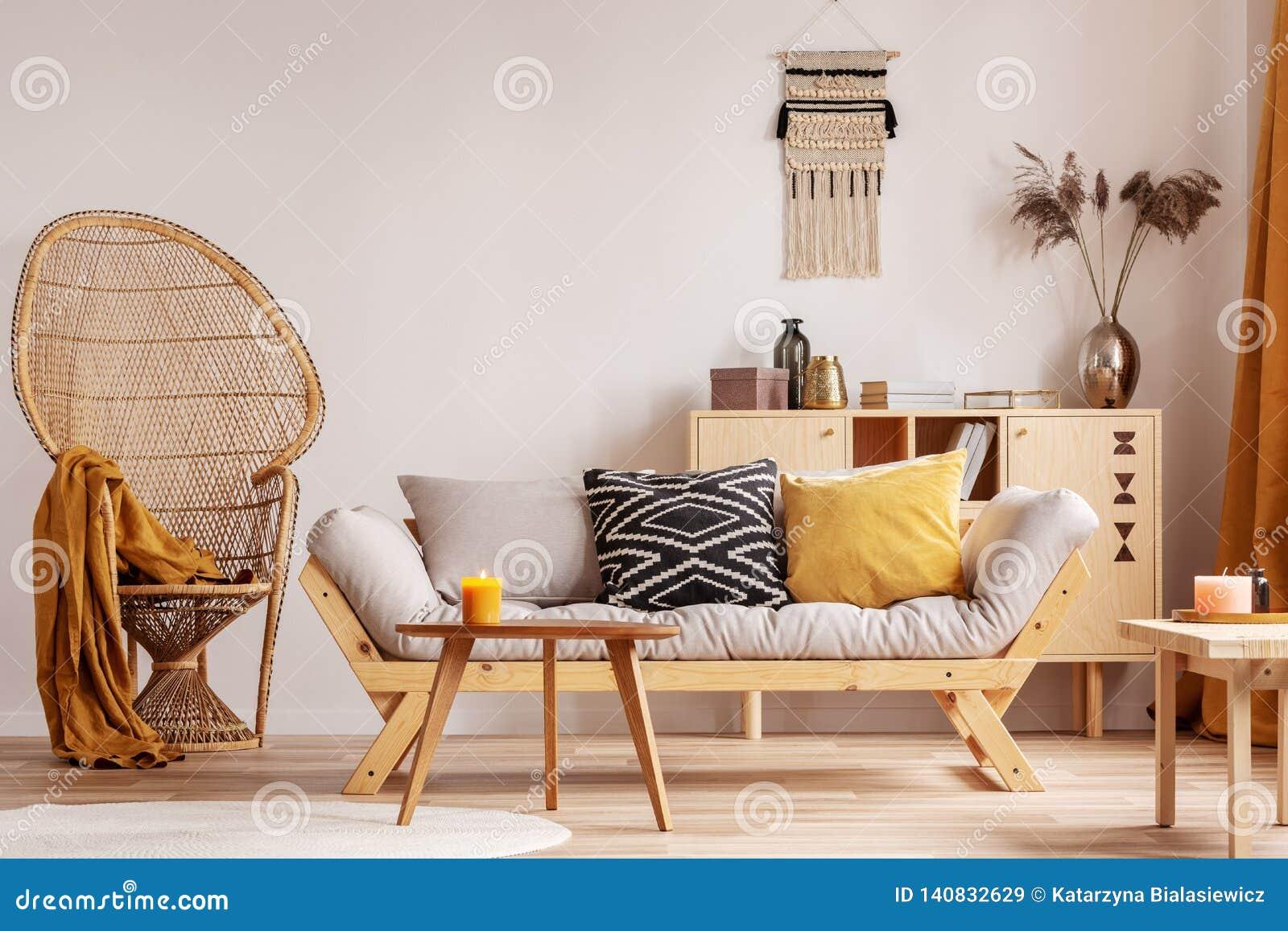 Wicker Peacock Chair In Elegant Living Room Interior Stock