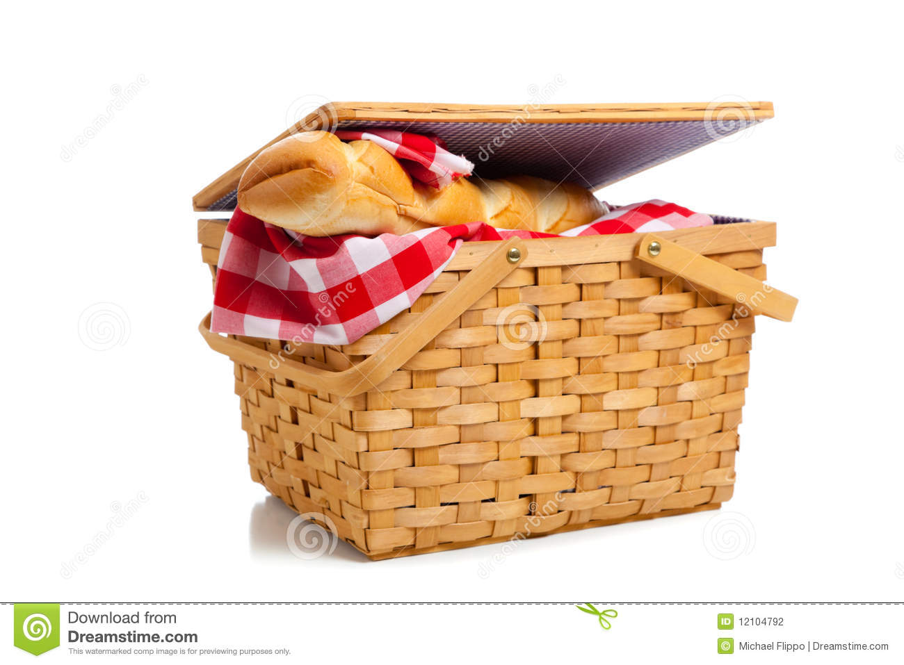 wicker picnic basket with bread on white stock photography. Black Bedroom Furniture Sets. Home Design Ideas