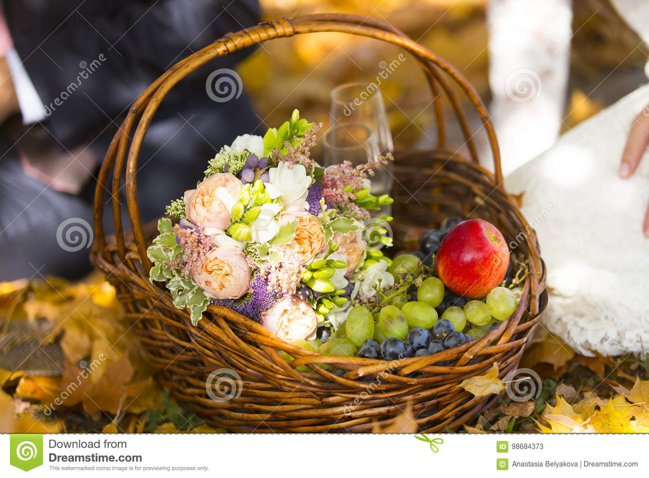 Wicker Picnic Basket Of Fruits Berries And Wedding Bouquet Of Flowers Stock Image Image Of Wedding Pink 98684373