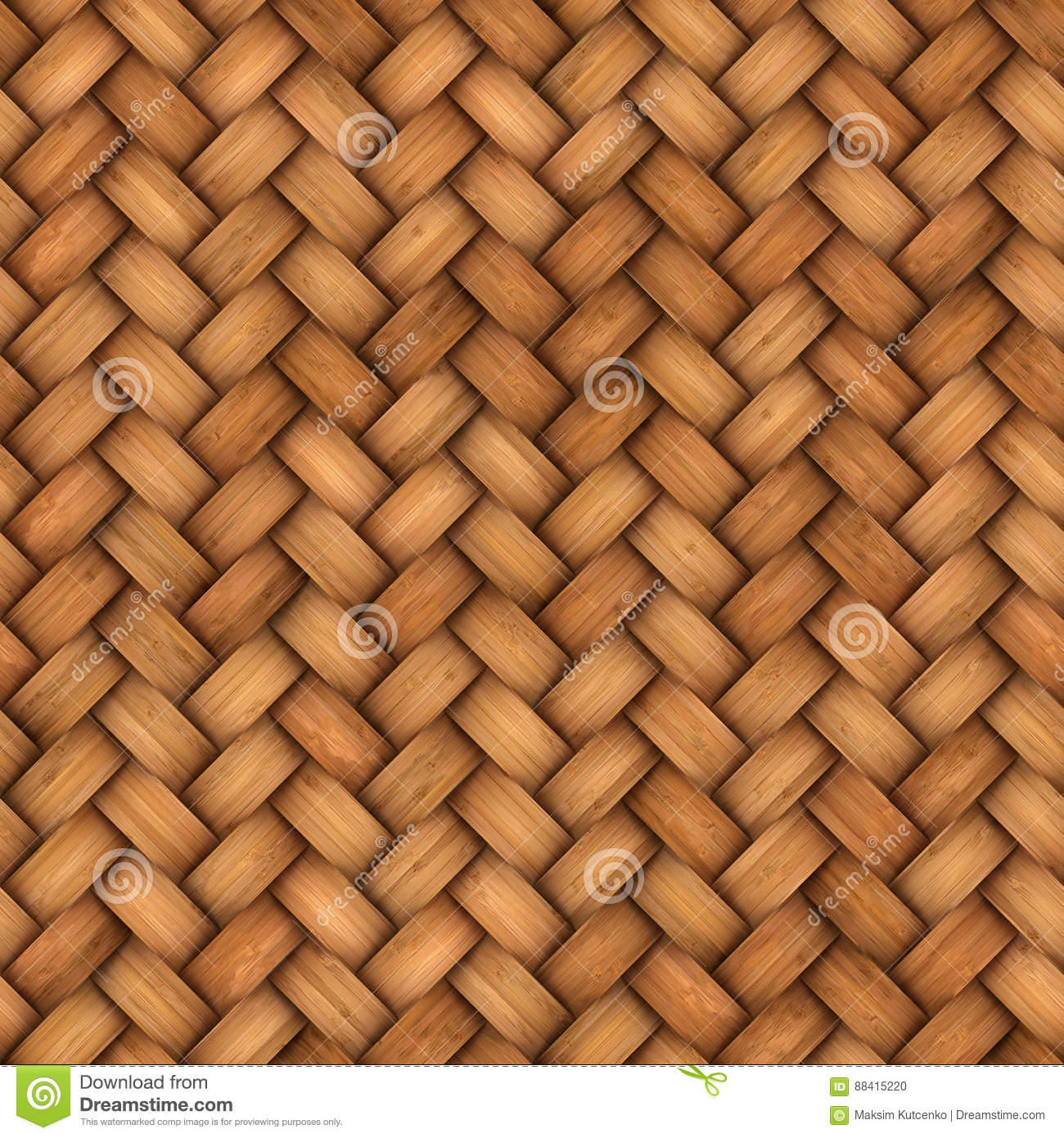 Wicker Rattan Seamless Texture For Cg Stock Photo