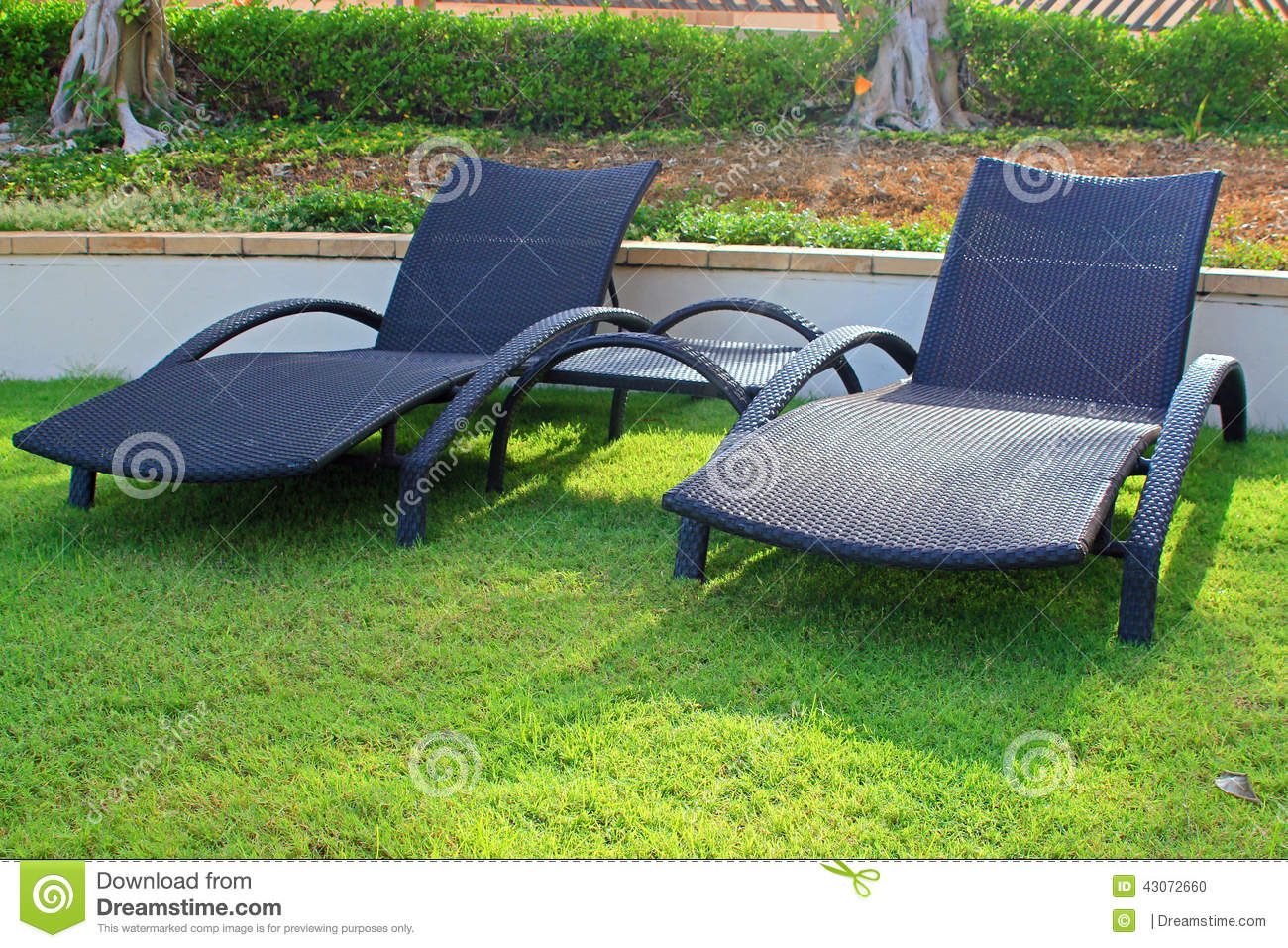 Wicker sun loungers