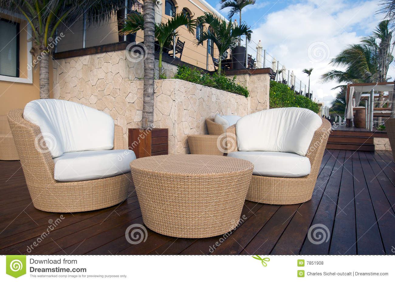 Wicker Table and Chairs at Luxury Resort