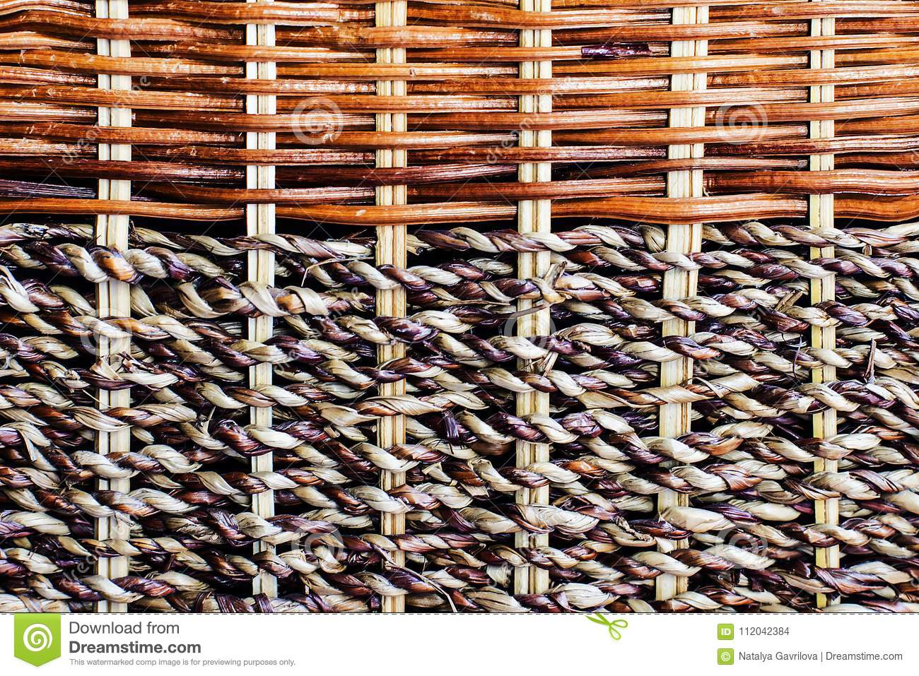 Wicker wooden cloth of brown color,