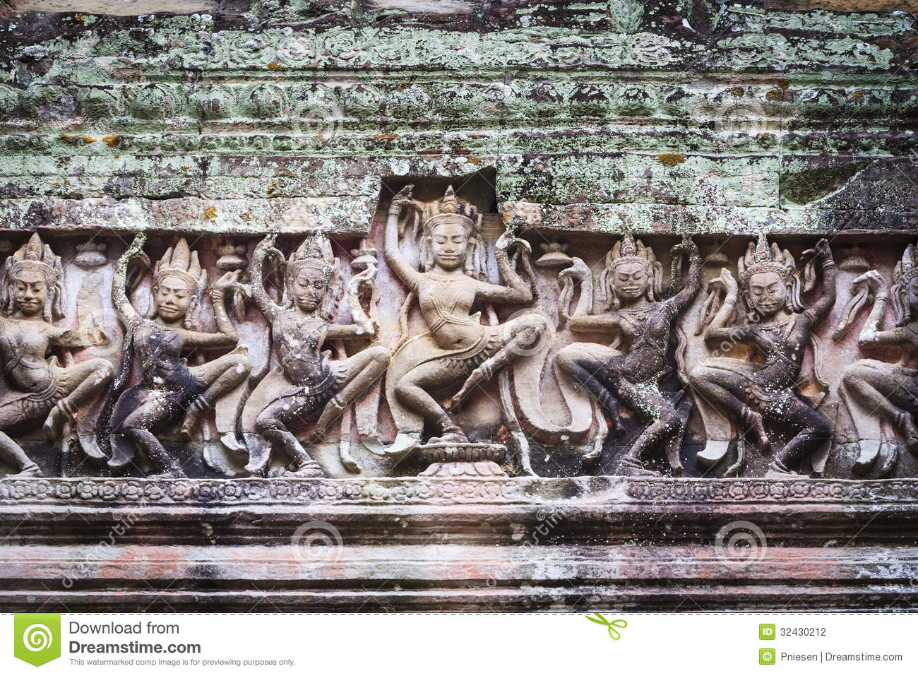 Wide angkor wat stone carving stock photography image