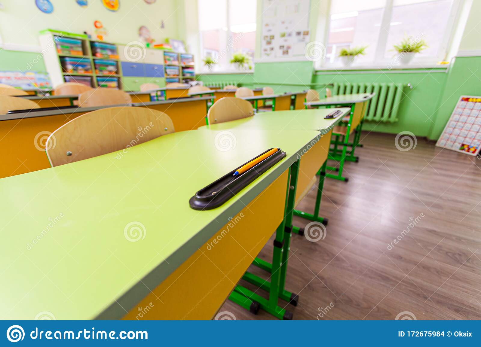 Wide Angle Desks And Chairs In Classroom. Stock Photo - Image of