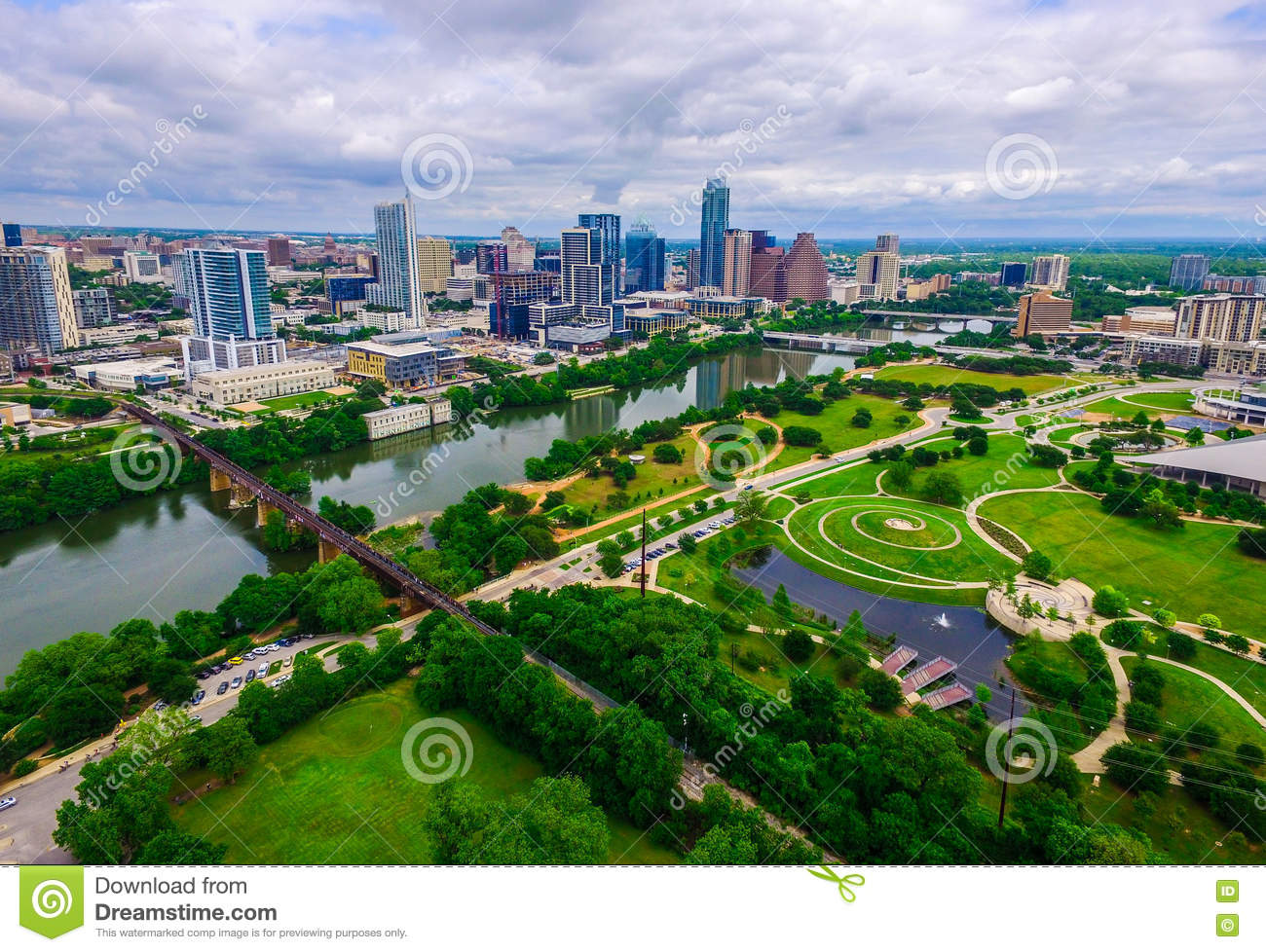 Wide Angle Green Paradise Over Modern Butler Park Capital City Skyline View of Austin Texas