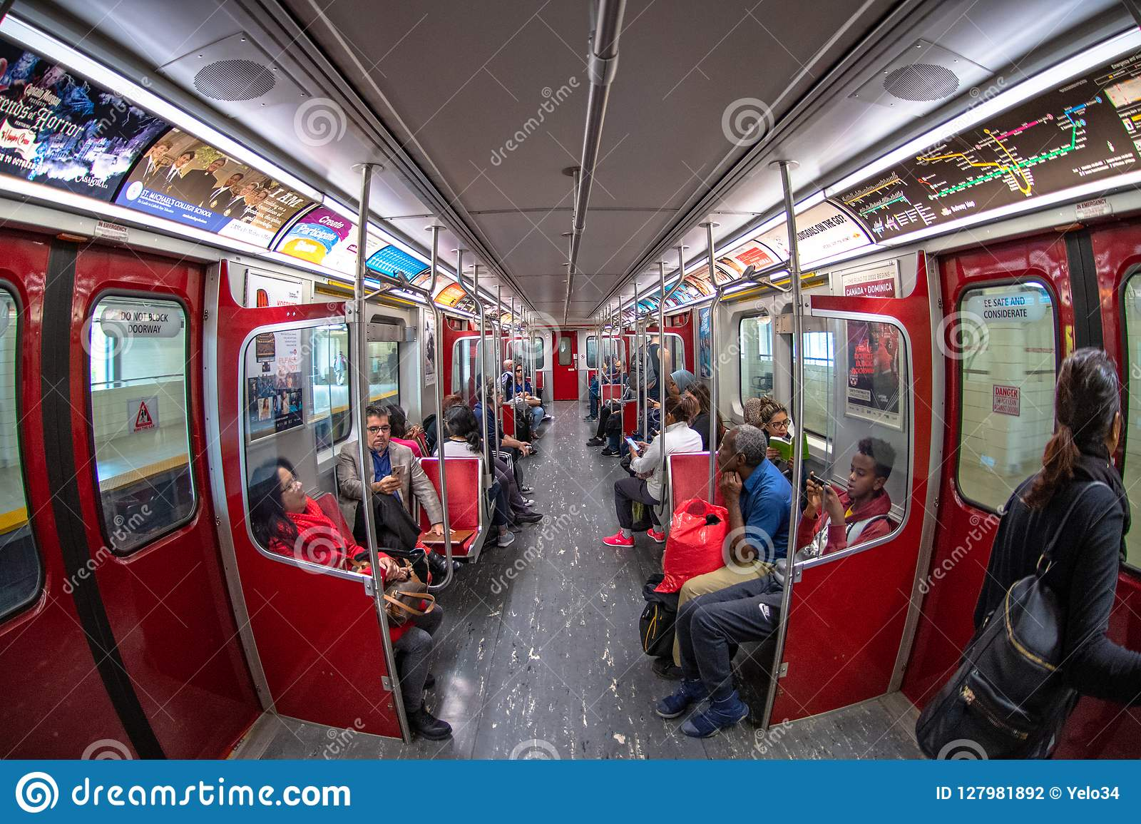 Wide angle of a TTC subway car, Toronto, Canada